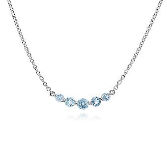 Gemondo Sterling Silver fem sten blå Topaz runda lutning 45cm halsband