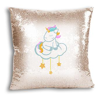 i-Tronixs - Unicorn Printed Design Champagne Sequin Cushion / Pillow Cover for Home Decor - 1