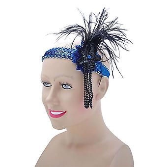 Flapper Headband. Blue Sequin Band Deluxe
