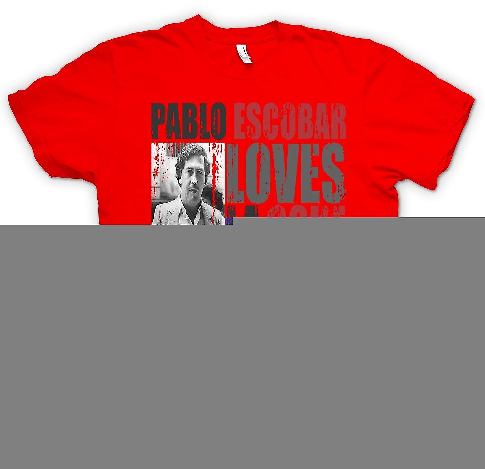 Mens T-shirt-Pablo Escobar liebt Coke La Nostra