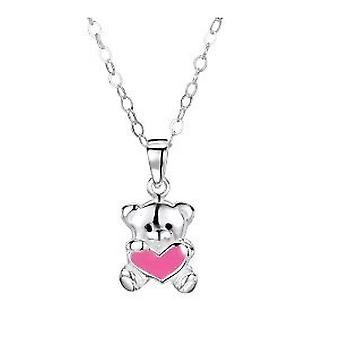 Jo For Girls Sterling Silver Pink Heart Teddy Bear Pendant Necklace 14
