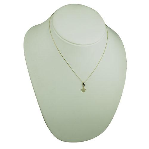 9ct Gold 11x12mm plain Star Pendant with bail loop and a curb Chain 18 inches