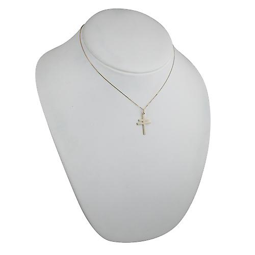 9ct Gold 25x17mm Cross of Lorraine with a curb Chain 16 inches Only Suitable for Children