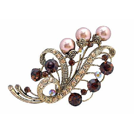 Gold Smoked Topaz Champagne Pearls Brooch for Brides or Bridesmaid
