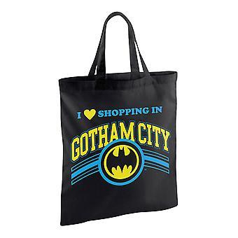 Batman fabric bag printed shopping in Gotham black, 100% cotton.