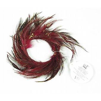 Red Glitter Feather Candle Ring 5.5cm Set of 12 - (128R159)