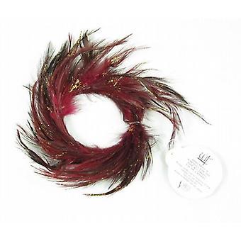 Glitter rosso piuma candela anello 5,5 cm Set di 12 - (128R159)
