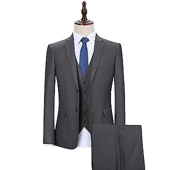 Allthemen Men's Korean Version Two-Button Slim Business Casual 3-Piece Suit Blazer Vest Trousers