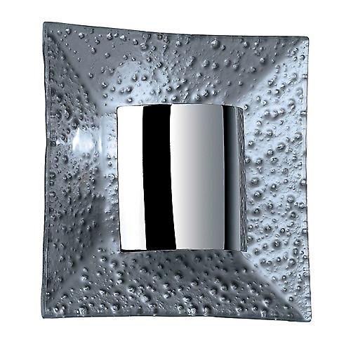 Endon 416-WBSIL Silver Square Modern Wall Light With Polished Chrome Reflector