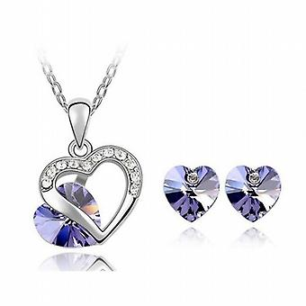 TOC Falling Love Lilac Crystal Heart Pendant and Earring Gift Set