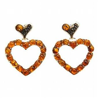 The Olivia Collection Sterling Silver Heart Shaped Amber Drop Earrings