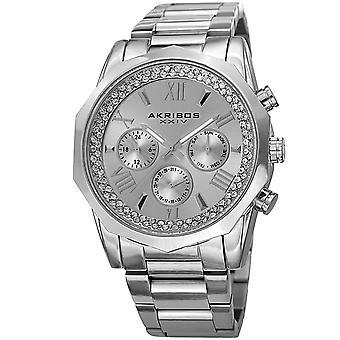 Akribos XXIV Men's Mulifunction Diamond Dial Bracelet Watch AK999SS