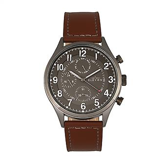 Elevon Lindbergh Leather-Band Watch w/Day/Date -Brown/Gray