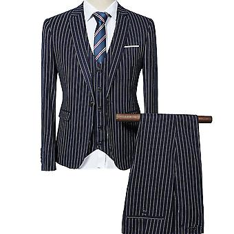 Allthemen mens 3st silm passen Plaid 3 stuks pak (blazer & vest & broek)