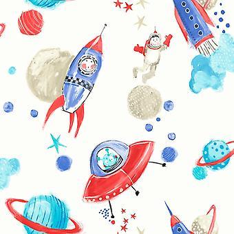 Arthouse Starship Star Pattern Space Man Rocket Glitter Childrens Fond d'écran 668001