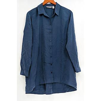 Susan Graver Donne's Petite Top tessuto Pulsante Front Camicia Blu A299875