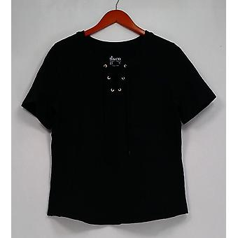 Denim & Co. Top Short Sleeve with Lace-up Details Black A291620