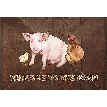 Welcome to the Farm with the pig and chicken Fabric Placemat