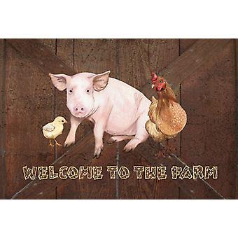 Bienvenido a la granja con el cerdo y pollo Tela Placemat