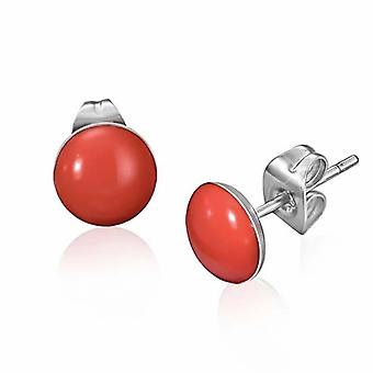 Urban Male Red Resin & Stainless Steel Men's Stud Earrings 7mm