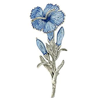 Fine Enamels Blue Carnation Flower Brooch - November Birthday