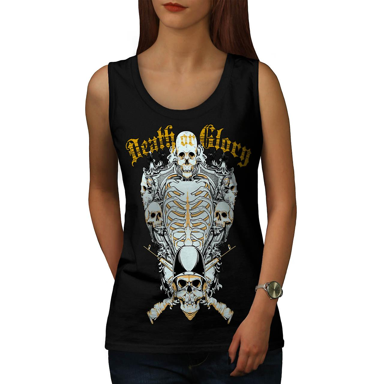 Death Glory Grave Gun Skull Army Women Black Tank Top | Wellcoda