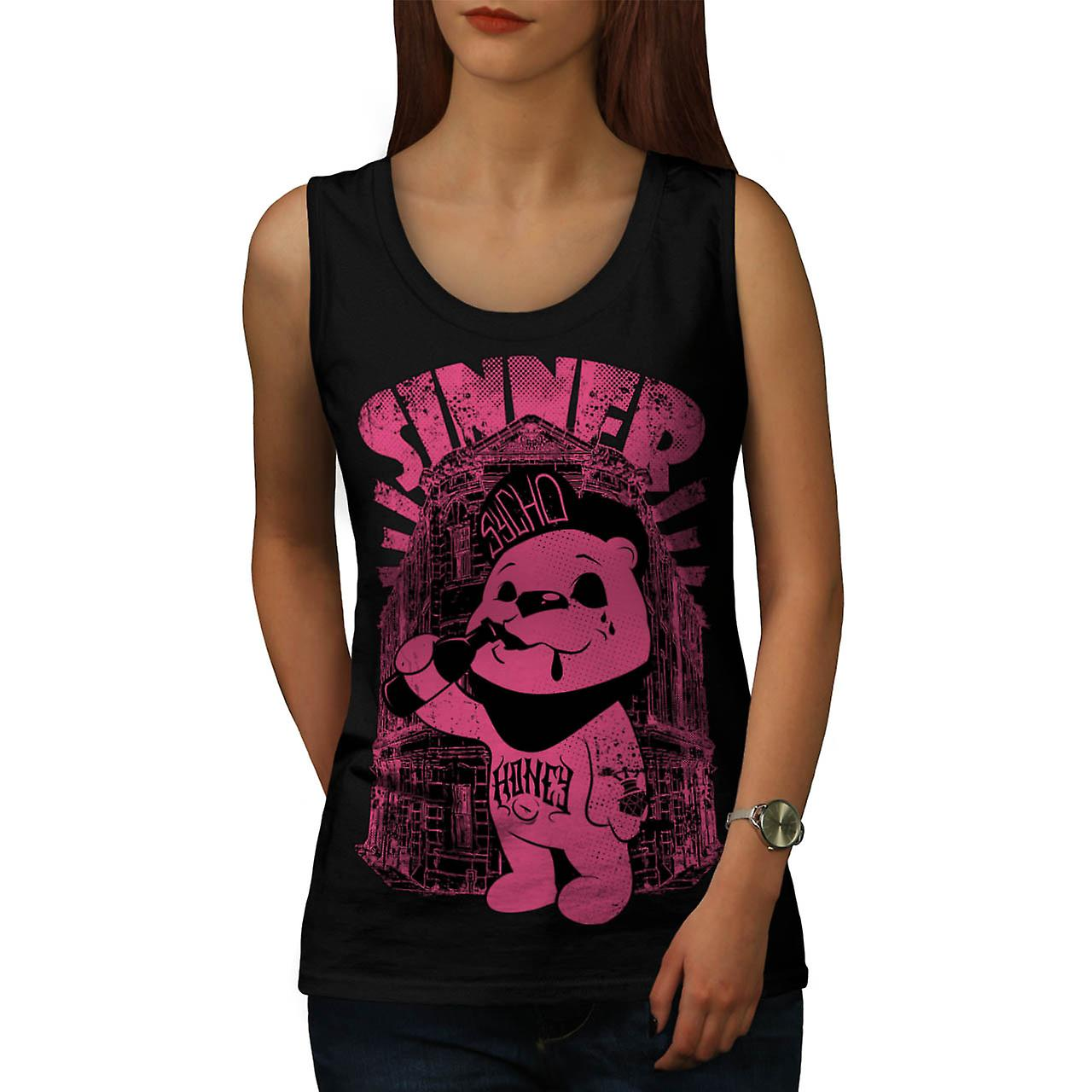Sinner Teddy Ted Bear Psycho Cub Women Black Tank Top | Wellcoda