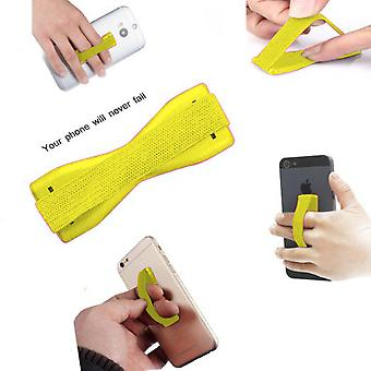 ONX3 (Yellow) Gionee M6 Mirror Universal Anti-Slip Elastic Finger Mobile Phone Grip Holder With Strong Adhesive