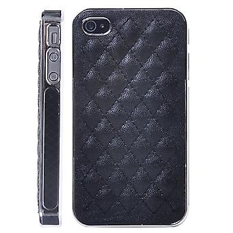 Leather Cushion cover with hard plastic structure-iPhone 4/4s (black)
