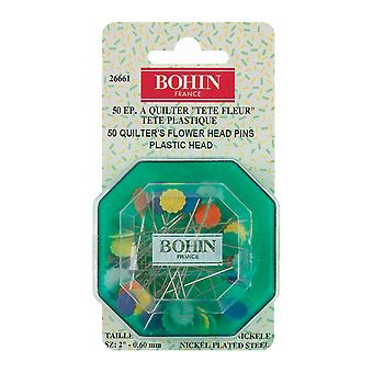 Quilter's Flower Head Pins Assorted Colors-Size 32 50/Pkg 26661