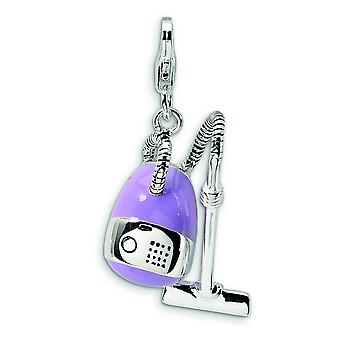 Sterling Silver 3-D Enameled Vacuum Cleaner With Lobster Clasp Charm - 3.6 Grams - Measures 31x16mm