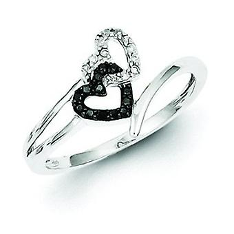 Sterling Silver Black and White Diamond Heart Ring - Ring Size: 6 to 8
