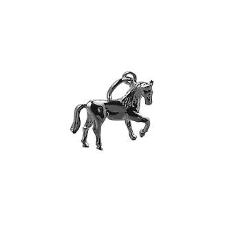 Silver 12x15mm Horse standing lifting a front hoof Pendant with a rolo Chain 24 inches
