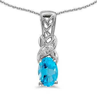 10k White Gold Oval Blue Topaz And Diamond Pendant with 16
