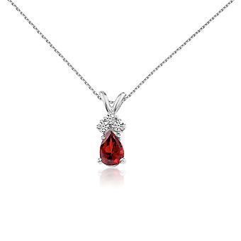 14k White Gold Garnet Pear Pendant with Diamonds and 18