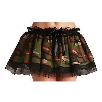 Wicked Ladies Army Camouflage Tutu Ruffle Skirt Fancy Dress