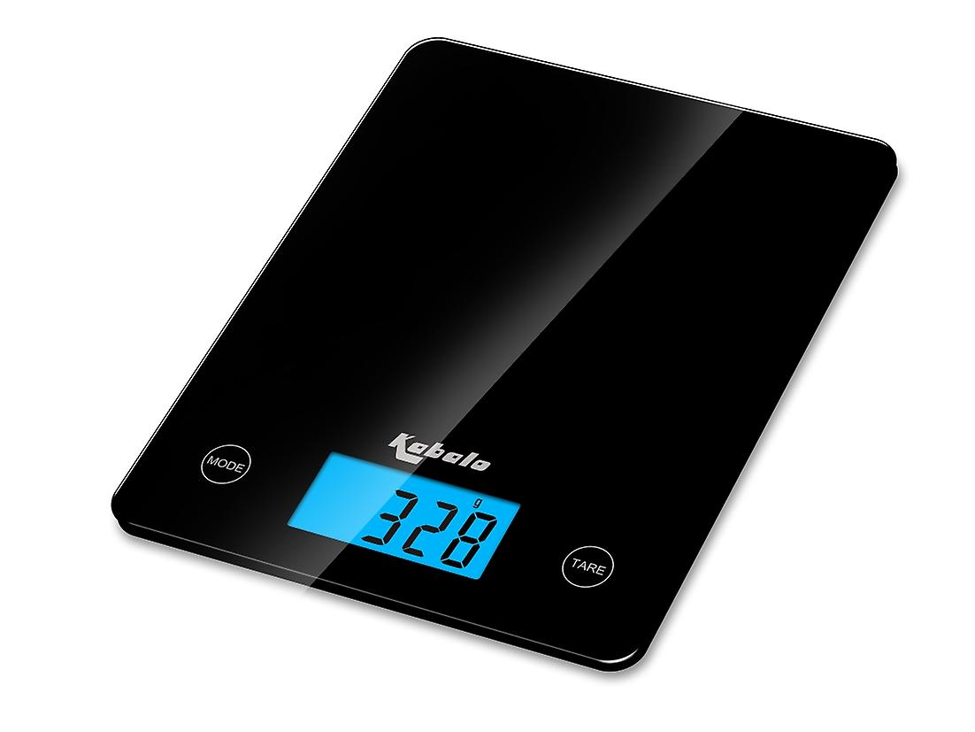 Kabalo Black Kitchen Household Food Cooking Weighing Scale 5kg capacity 5000g/1g, Batteries Included! Flat Slim Design, Premier LCD Digital Electronic, with blue backlight