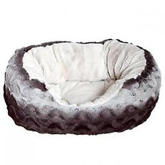 40 Winks Snuggle Bed Oval Plush Grey & Cream 25
