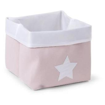 Childhome Canvas Folding Box 32x32x29 Cm - Pink / White