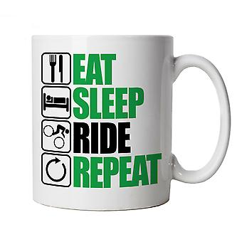 Vectorbomb, Eat Sleep Ride Repeat, Novelty Mountain Biking Mug
