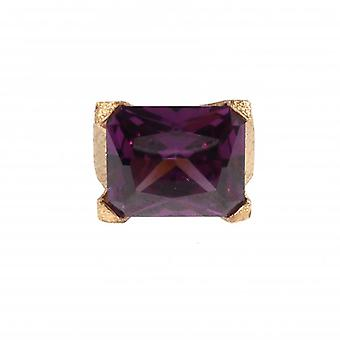 W.A.T Gold Plated Sterling Silver Purple CZ Dress Ring