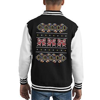 Sonic Hedgehog fünf Goldringe Weihnachten Stricken Muster Kid Varsity Jacket