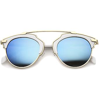 High Fashion Two-Toned Pantos Crossbar Color Mirror Lens Aviator Sunglasses 50mm