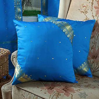 Encantador azul - hechos a mano fundas de colchón, funda de almohada de tiro Euro Sham-6 tamaños