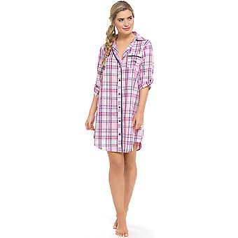 Ladies Foxbury Yarn Dyed Button-Up Shirt Style Nightdress Nighty Sleepwear