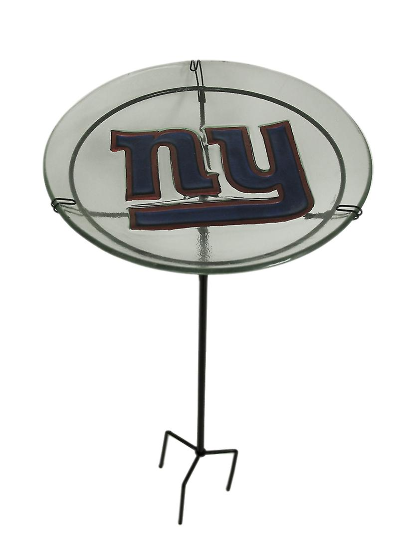 NFL New York Giants Embossed Glass Birdbath Garden Stake