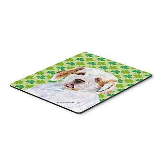 Clumber Spaniel St. Patrick's Day Shamrock Mouse Pad, Hot Pad or Trivet