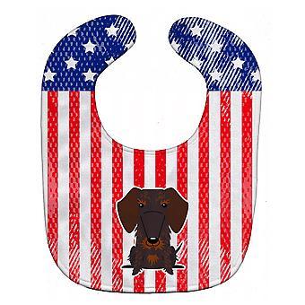 愛国心が強い米国ワイヤ髪のダックスフント チョコレート赤ちゃんよだれかけ