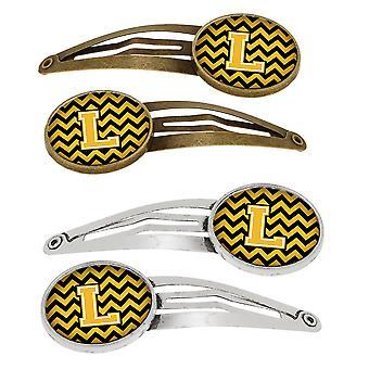 Letter L Chevron Black and Gold Set van 4 haarspeldjes Hair Clips