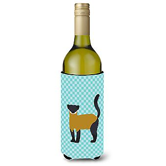 Yellow-Throated Marten Blue Check Wine Bottle Beverge Insulator Hugger